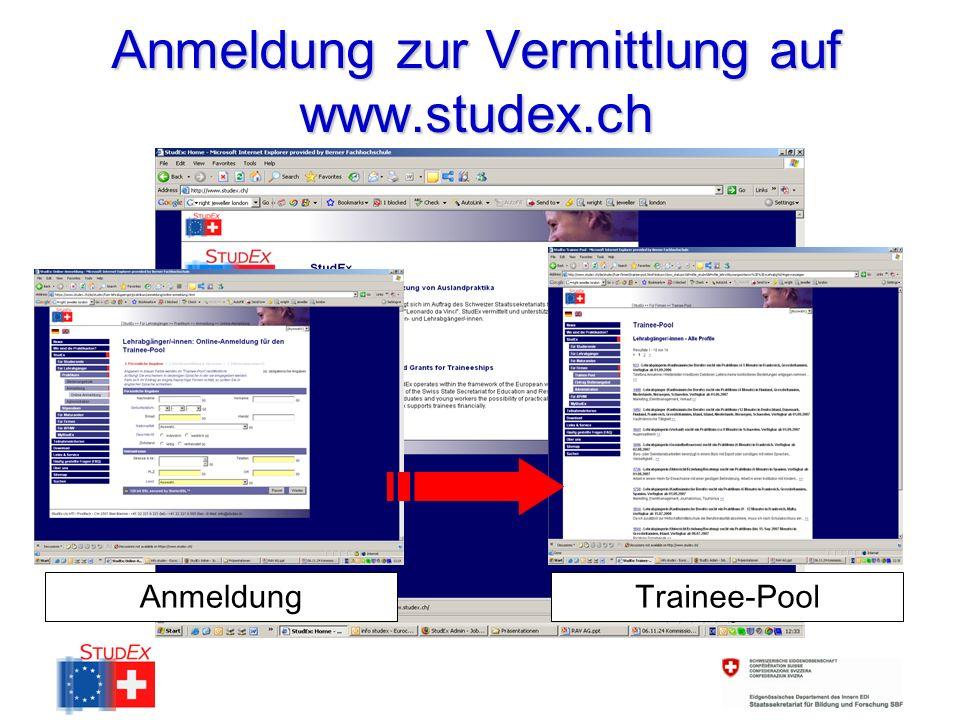 Anmeldung zur Vermittlung auf www.studex.ch AnmeldungTrainee-Pool