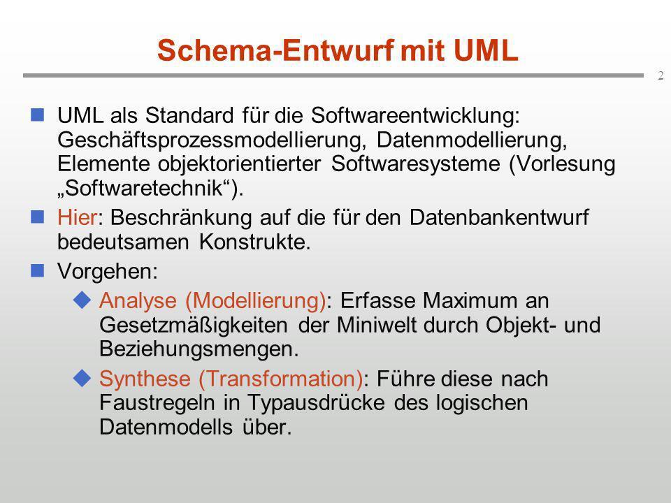 2 Schema-Entwurf mit UML UML als Standard für die Softwareentwicklung: Geschäftsprozessmodellierung, Datenmodellierung, Elemente objektorientierter Softwaresysteme (Vorlesung Softwaretechnik).