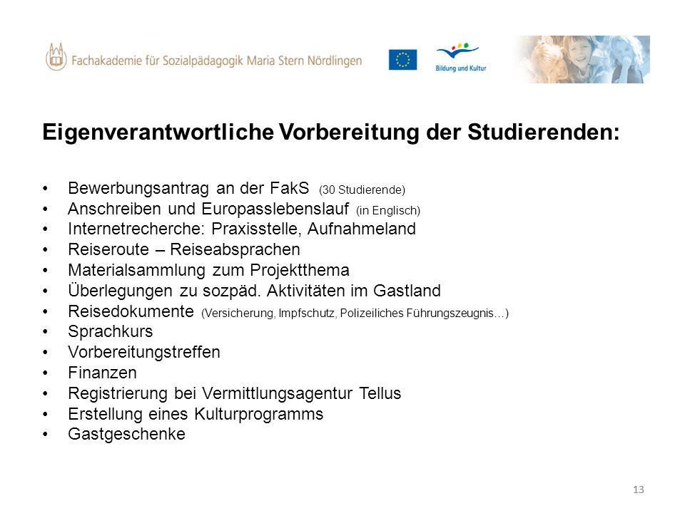 13 Eigenverantwortliche Vorbereitung der Studierenden: Bewerbungsantrag an der FakS (30 Studierende) Anschreiben und Europasslebenslauf (in Englisch)
