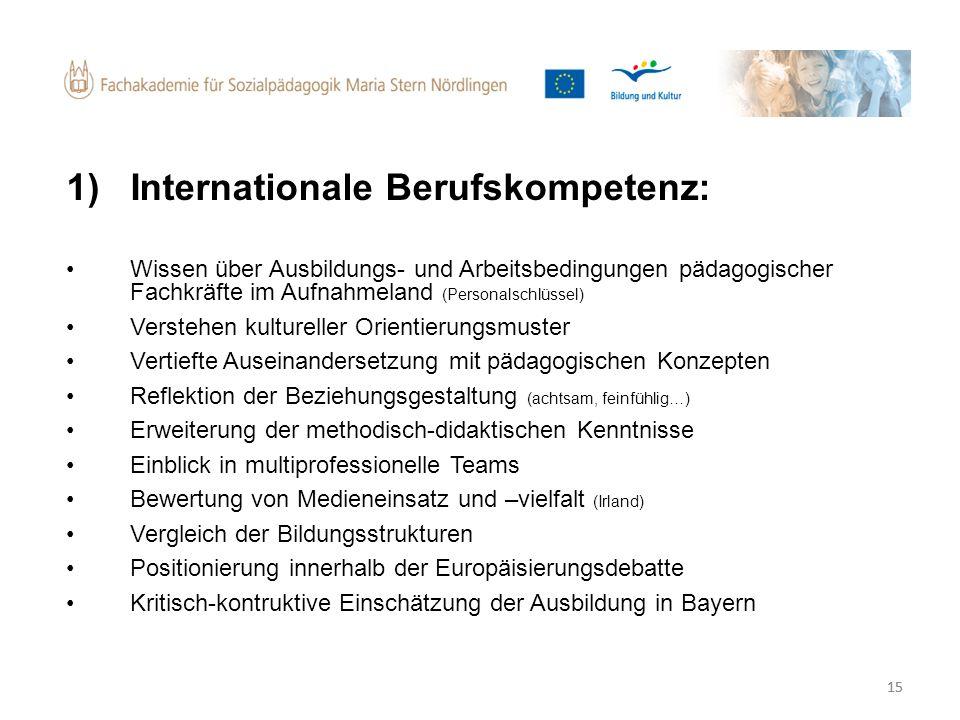 15 1)Internationale Berufskompetenz: Wissen über Ausbildungs- und Arbeitsbedingungen pädagogischer Fachkräfte im Aufnahmeland (Personalschlüssel) Vers