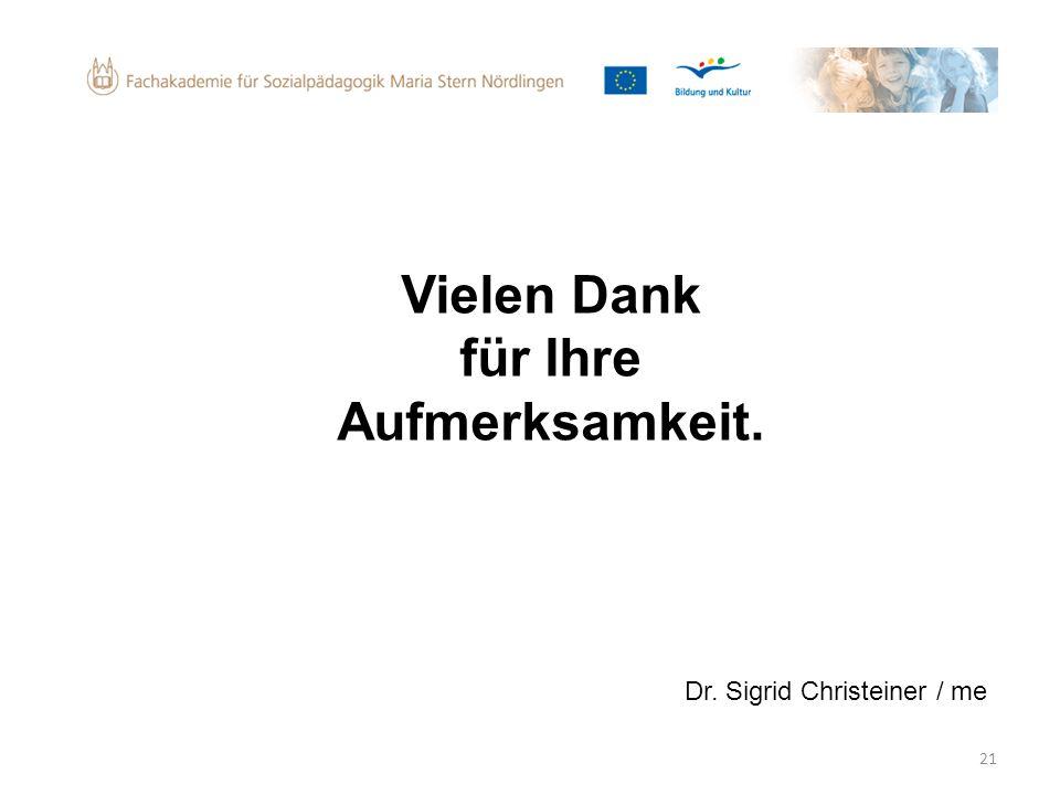 21 Vielen Dank für Ihre Aufmerksamkeit. Dr. Sigrid Christeiner / me