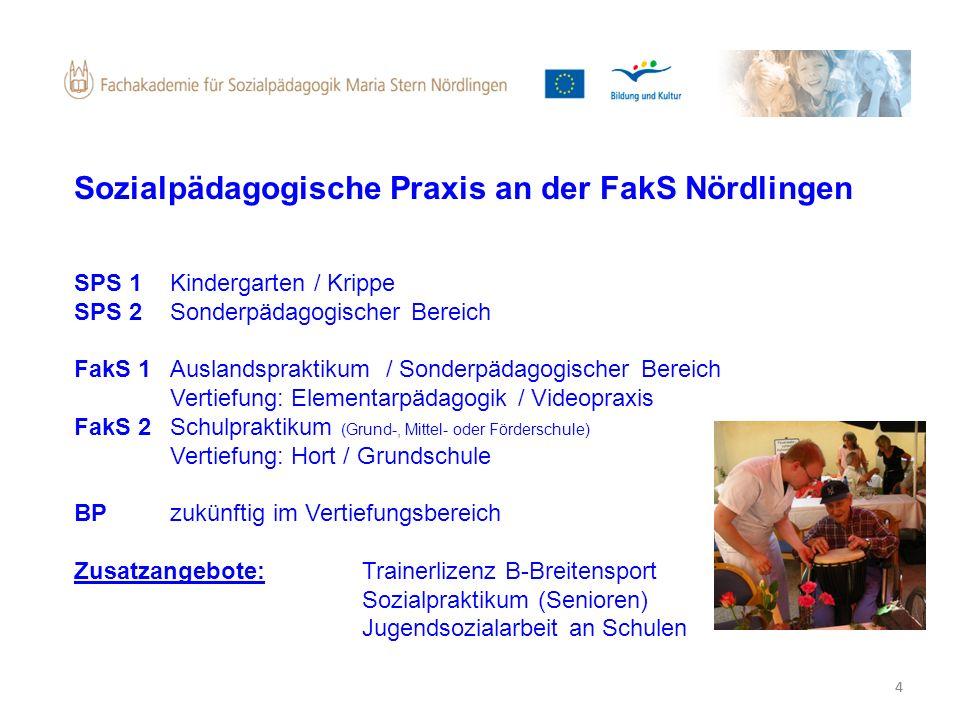 4 Sozialpädagogische Praxis an der FakS Nördlingen SPS 1 Kindergarten / Krippe SPS 2 Sonderpädagogischer Bereich FakS 1 Auslandspraktikum / Sonderpäda