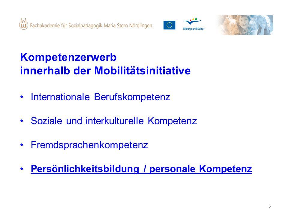 5 Kompetenzerwerb innerhalb der Mobilitätsinitiative Internationale Berufskompetenz Soziale und interkulturelle Kompetenz Fremdsprachenkompetenz Persö