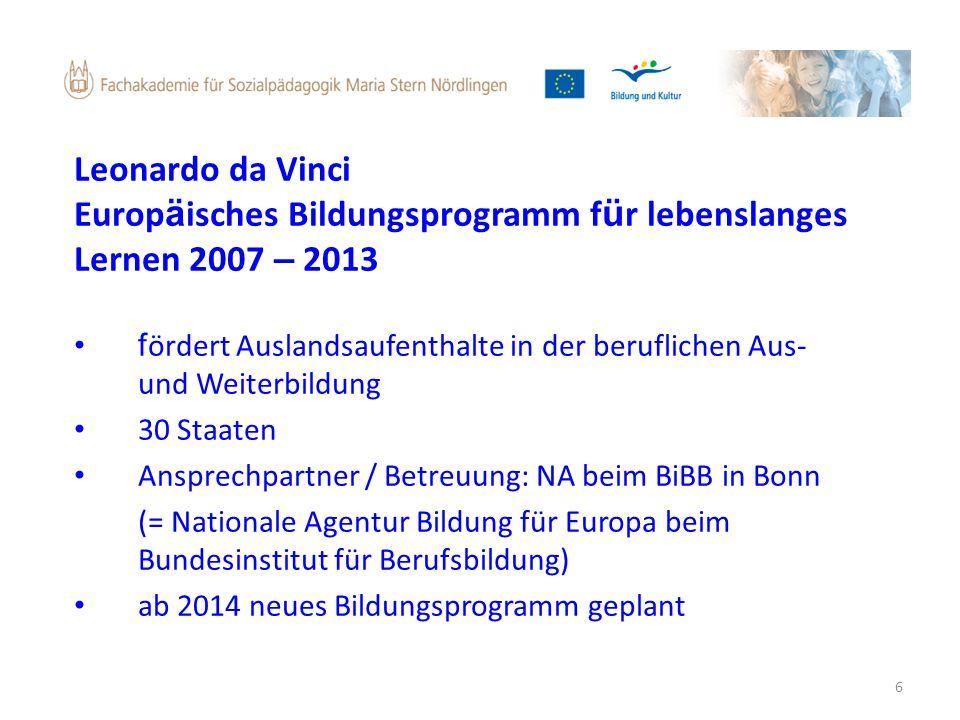 6 Leonardo da Vinci Europ ä isches Bildungsprogramm f ü r lebenslanges Lernen 2007 – 2013 f ördert Auslandsaufenthalte in der beruflichen Aus- und Wei