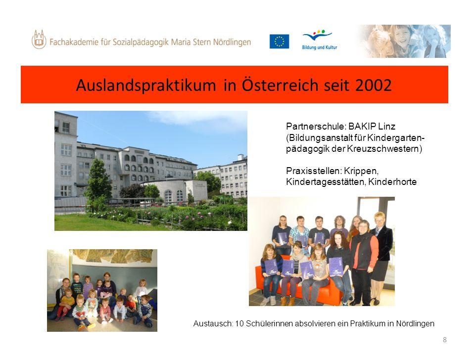 8 Partnerschule: BAKIP Linz (Bildungsanstalt für Kindergarten- pädagogik der Kreuzschwestern) Praxisstellen: Krippen, Kindertagesstätten, Kinderhorte