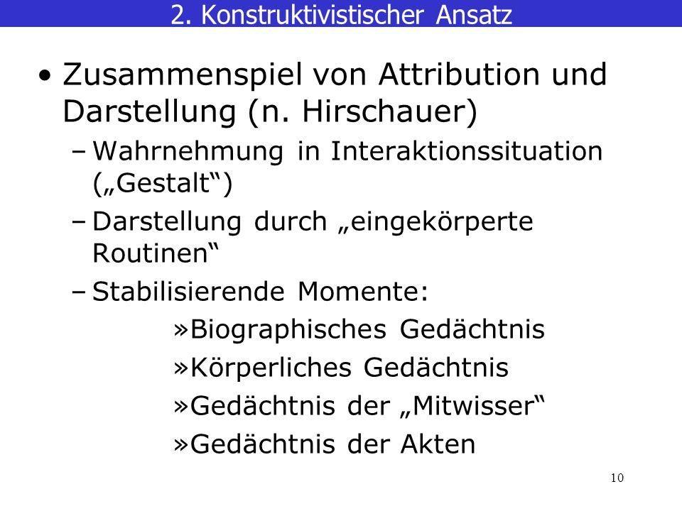 10 2.Konstruktivistischer Ansatz Zusammenspiel von Attribution und Darstellung (n.