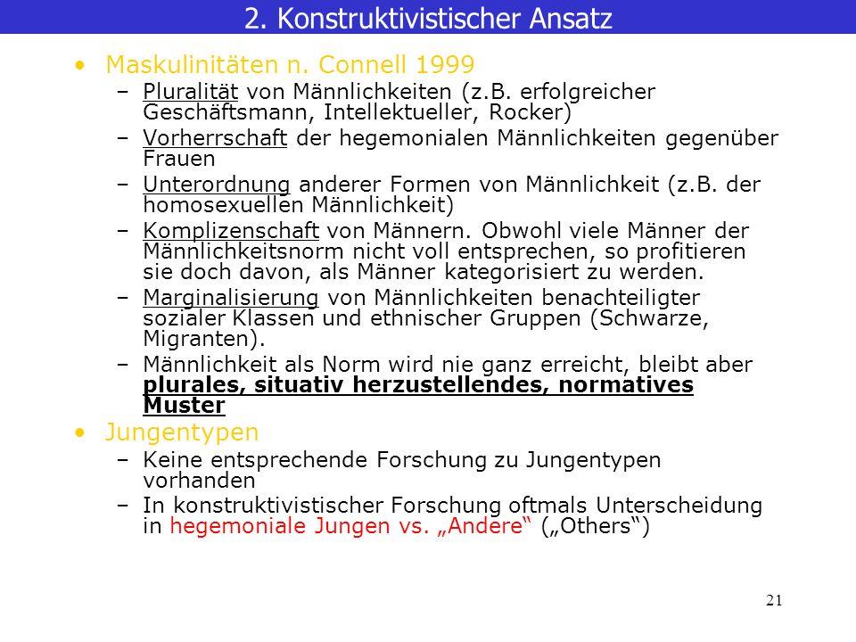 21 Maskulinitäten n.Connell 1999 –Pluralität von Männlichkeiten (z.B.