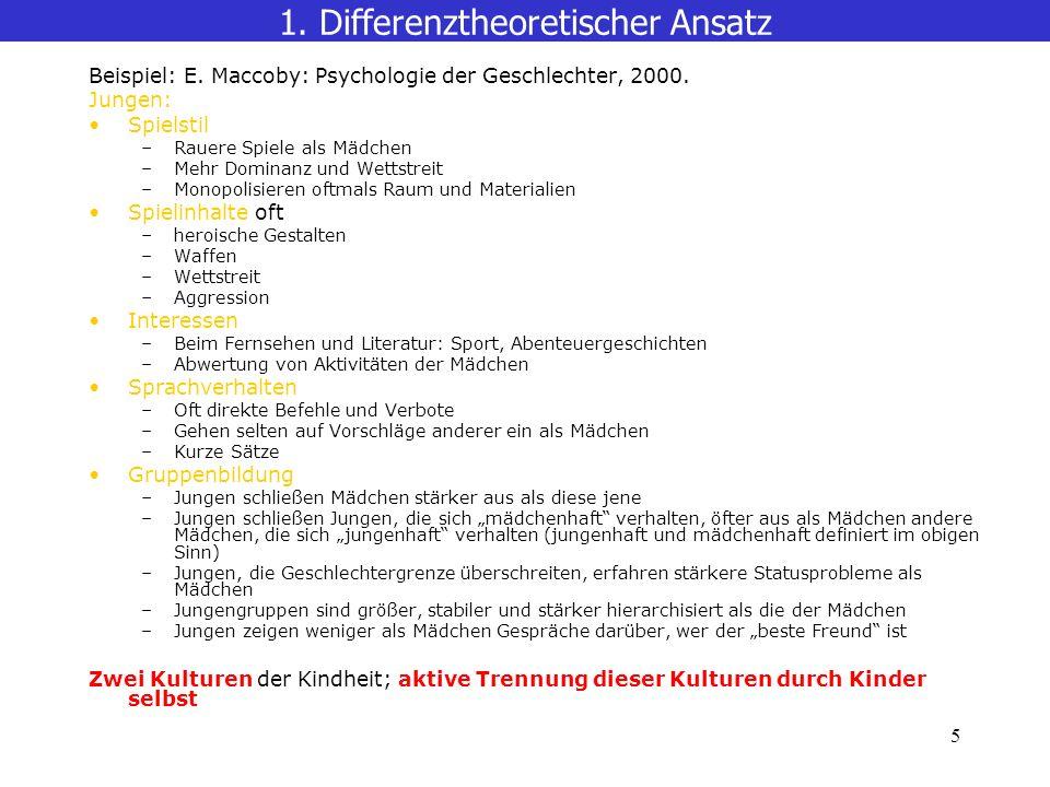 5 1.Differenztheoretischer Ansatz Beispiel: E. Maccoby: Psychologie der Geschlechter, 2000.
