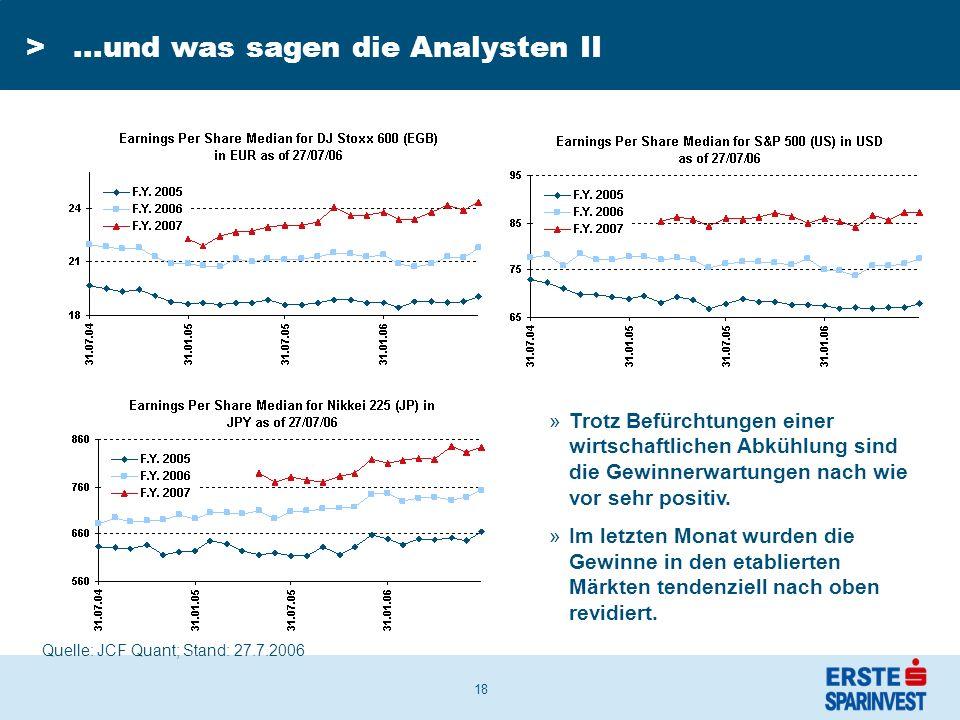 18 >...und was sagen die Analysten II »Trotz Befürchtungen einer wirtschaftlichen Abkühlung sind die Gewinnerwartungen nach wie vor sehr positiv.