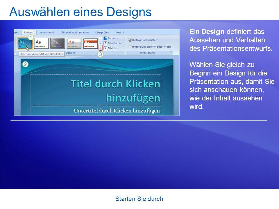 Starten Sie durch Beginnen einer neuen Präsentation Neue Präsentationen beginnen auf der Microsoft Office- Schaltfläche, die sich im linken oberen Fen