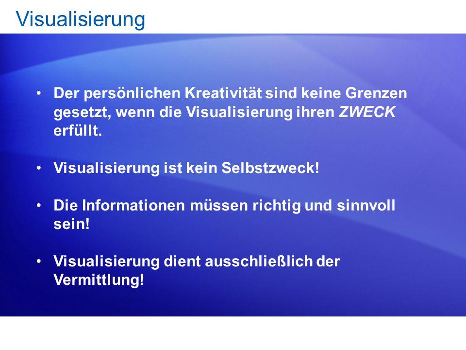 1.Zweck der Visualisierung: Informationen bildhaft darstellen! Über unterschiedliche Empfangskanäle (vor allem Augen und Ohren) intensiver zu vermitte