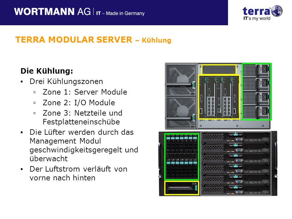 Die Kühlung: Drei Kühlungszonen Zone 1: Server Module Zone 2: I/O Module Zone 3: Netzteile und Festplatteneinschübe Die Lüfter werden durch das Management Modul geschwindigkeitsgeregelt und überwacht Der Luftstrom verläuft von vorne nach hinten TERRA MODULAR SERVER – Kühlung