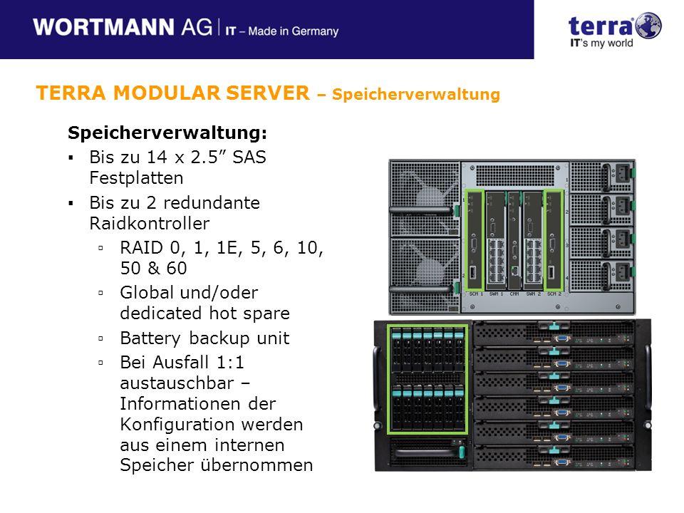 Speicherverwaltung: Bis zu 14 x 2.5 SAS Festplatten Bis zu 2 redundante Raidkontroller RAID 0, 1, 1E, 5, 6, 10, 50 & 60 Global und/oder dedicated hot spare Battery backup unit Bei Ausfall 1:1 austauschbar – Informationen der Konfiguration werden aus einem internen Speicher übernommen TERRA MODULAR SERVER – Speicherverwaltung