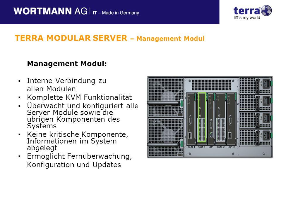 Management Modul: Interne Verbindung zu allen Modulen Komplette KVM Funktionalität Überwacht und konfiguriert alle Server Module sowie die übrigen Komponenten des Systems Keine kritische Komponente, Informationen im System abgelegt Ermöglicht Fernüberwachung, Konfiguration und Updates TERRA MODULAR SERVER – Management Modul