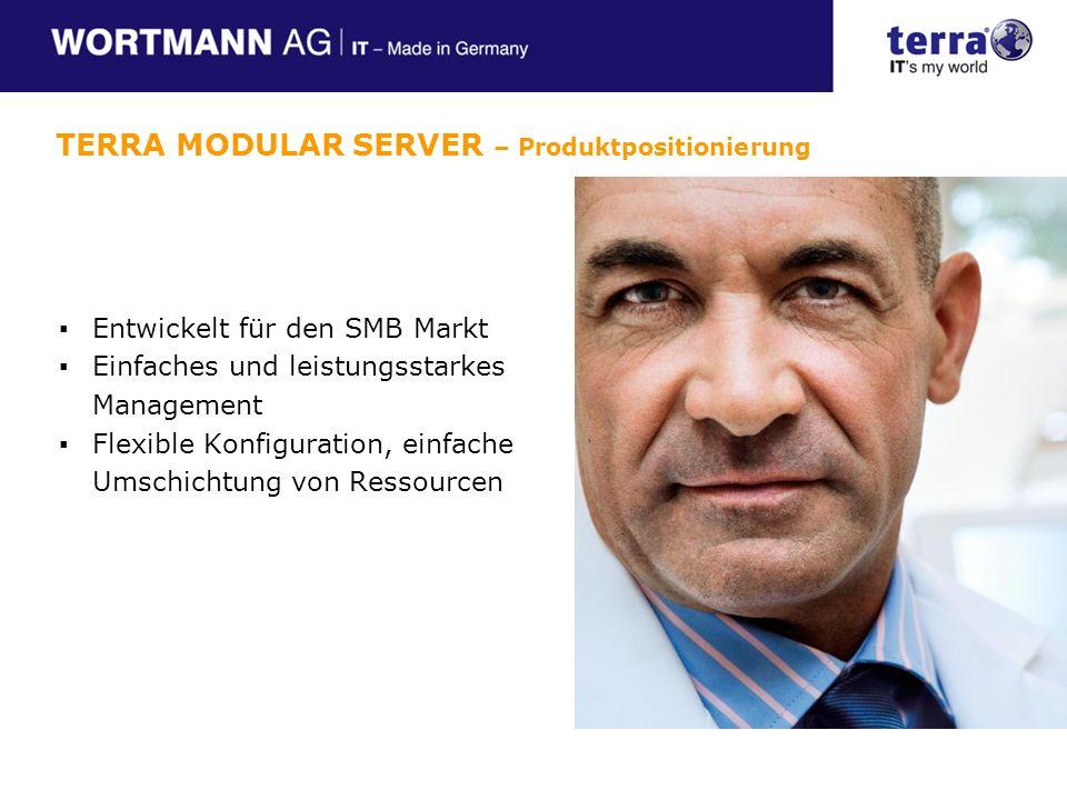 Entwickelt für den SMB Markt Einfaches und leistungsstarkes Management Flexible Konfiguration, einfache Umschichtung von Ressourcen TERRA MODULAR SERVER – Produktpositionierung