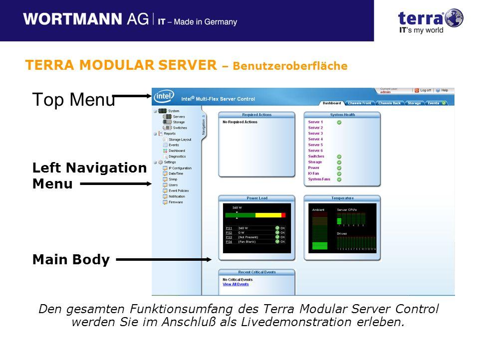 Top Menu Main Body Left Navigation Menu TERRA MODULAR SERVER – Benutzeroberfläche Den gesamten Funktionsumfang des Terra Modular Server Control werden Sie im Anschluß als Livedemonstration erleben.