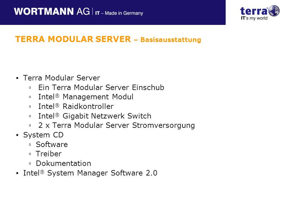 Bis zu 2 CPU`s der 5100, 5300 oder 5400 Serie 8 Speicherbänke DDR2 FB-Dimm ATI Grafikkarte Integrierte KVM Funktionalität Intel Dual Gigabit LAN mit der Option auf 4x GBL Integrieter LSI 1064e dual port SAS Kontroller Interne SAS I/O Anbindung an das Storage TERRA MODULAR SERVER – Server Modul