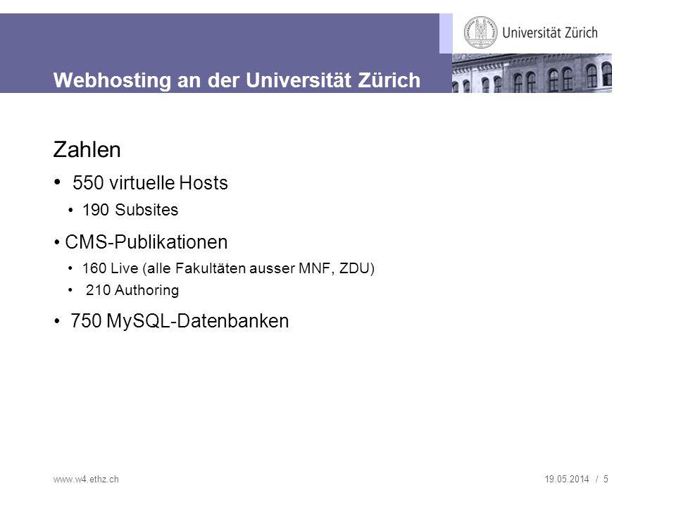 19.05.2014 / 5 Webhosting an der Universität Zürich Zahlen 550 virtuelle Hosts 190 Subsites CMS-Publikationen 160 Live (alle Fakultäten ausser MNF, ZDU) 210 Authoring 750 MySQL-Datenbanken www.w4.ethz.ch