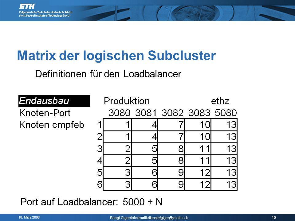 18. März 2008 Bengt Giger/Informatikdienste/giger@id.ethz.ch 10 Matrix der logischen Subcluster Definitionen für den Loadbalancer Port auf Loadbalance