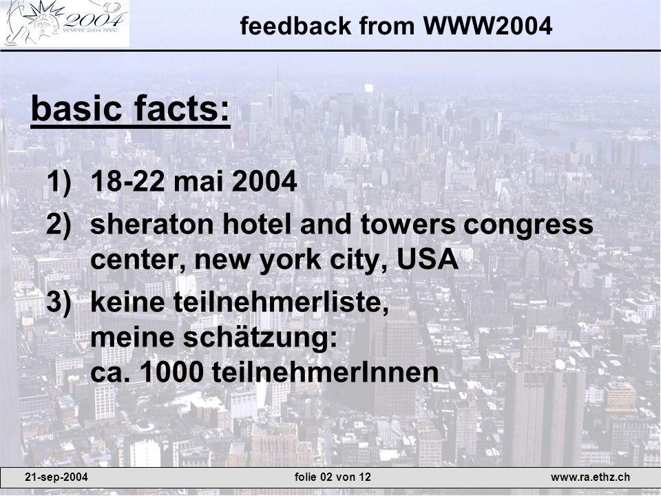 1)18-22 mai 2004 2)sheraton hotel and towers congress center, new york city, USA 3)keine teilnehmerliste, meine schätzung: ca. 1000 teilnehmerInnen ba
