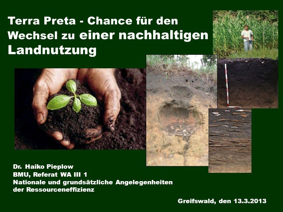 Terra Preta - Chance für den Wechsel zu einer nachhaltigen Landnutzung Dr. Haiko Pieplow BMU, Referat WA III 1 Nationale und grundsätzliche Angelegenh