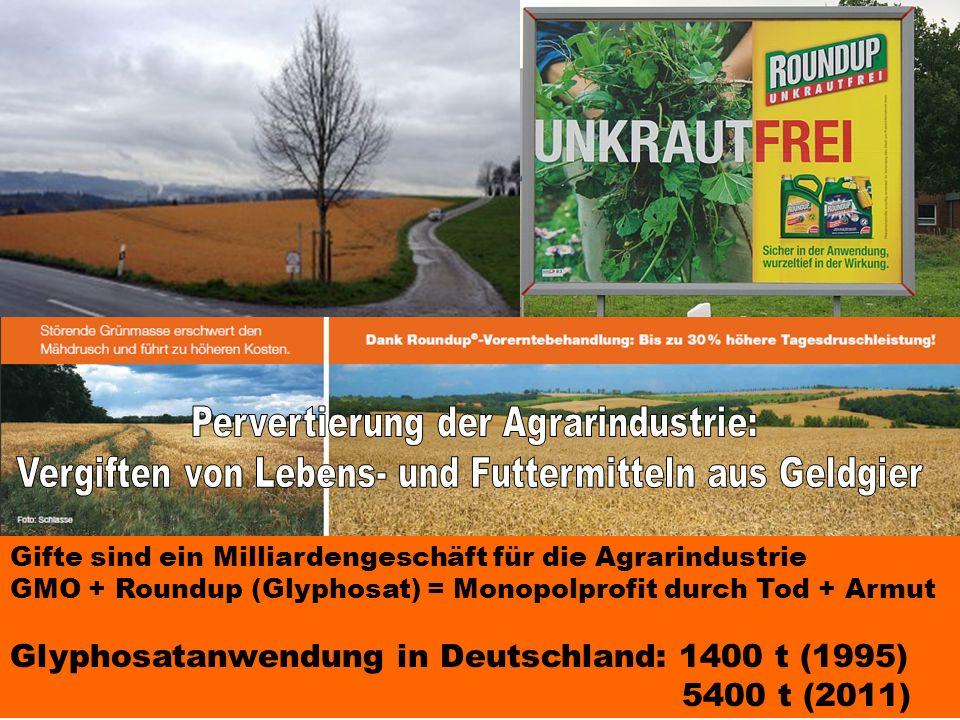 Gifte sind ein Milliardengeschäft für die Agrarindustrie GMO + Roundup (Glyphosat) = Monopolprofit durch Tod + Armut Glyphosatanwendung in Deutschland