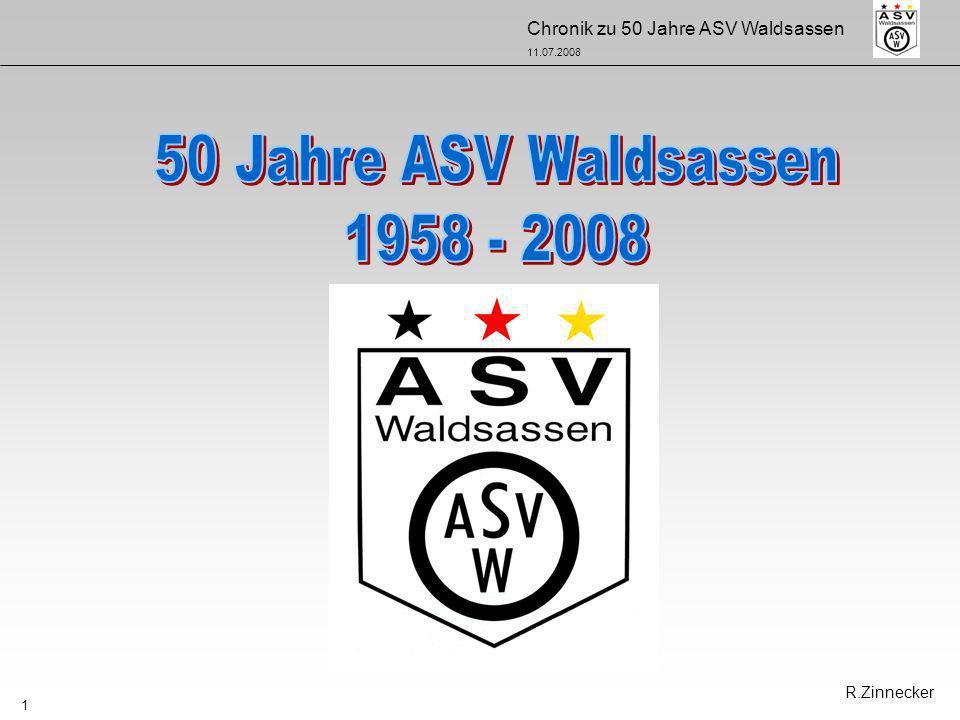 Chronik zu 50 Jahre ASV Waldsassen 11.07.2008 12 26.03.1959 Baubeginn 1959 -neuer Sportplatz 05.03.1959 - Stadtratbeschluss neuer Sportplatz am Wasserreservoir