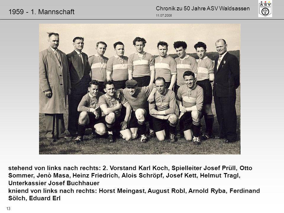 Chronik zu 50 Jahre ASV Waldsassen 11.07.2008 13 stehend von links nach rechts: 2. Vorstand Karl Koch, Spielleiter Josef Prüll, Otto Sommer, Jenò Masa