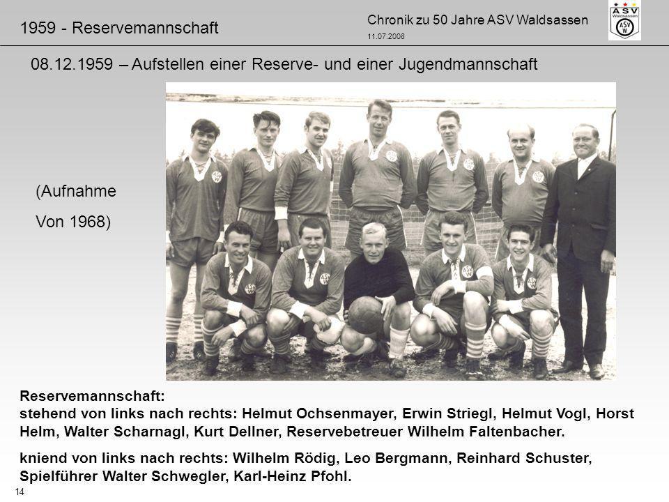 Chronik zu 50 Jahre ASV Waldsassen 11.07.2008 14 Reservemannschaft: stehend von links nach rechts: Helmut Ochsenmayer, Erwin Striegl, Helmut Vogl, Hor