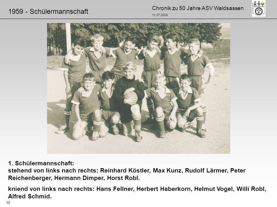 Chronik zu 50 Jahre ASV Waldsassen 11.07.2008 15 1. Schülermannschaft: stehend von links nach rechts: Reinhard Köstler, Max Kunz, Rudolf Lärmer, Peter