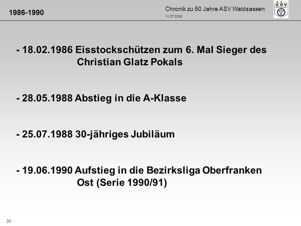 Chronik zu 50 Jahre ASV Waldsassen 11.07.2008 31 - 18.02.1986 Eisstockschützen zum 6. Mal Sieger des Christian Glatz Pokals - 28.05.1988 Abstieg in di