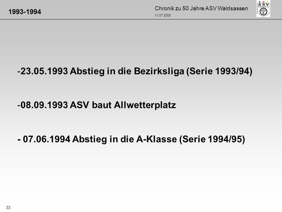 Chronik zu 50 Jahre ASV Waldsassen 11.07.2008 33 -23.05.1993 Abstieg in die Bezirksliga (Serie 1993/94) -08.09.1993 ASV baut Allwetterplatz - 07.06.19