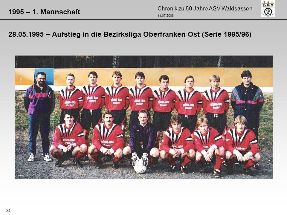 Chronik zu 50 Jahre ASV Waldsassen 11.07.2008 34 1995 – 1. Mannschaft 28.05.1995 – Aufstieg in die Bezirksliga Oberfranken Ost (Serie 1995/96)