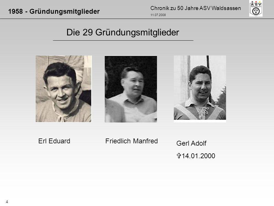 Chronik zu 50 Jahre ASV Waldsassen 11.07.2008 4 Die 29 Gründungsmitglieder 1958 - Gründungsmitglieder Erl EduardFriedlich Manfred Gerl Adolf 14.01.200