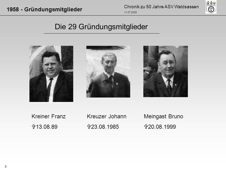 Chronik zu 50 Jahre ASV Waldsassen 11.07.2008 7 Die 29 Gründungsmitglieder 1958 - Gründungsmitglieder Meingast Horst 14.10.1999 Peterhans Anton 18.04.1970 Peterhans Gerhard 22.05.2006