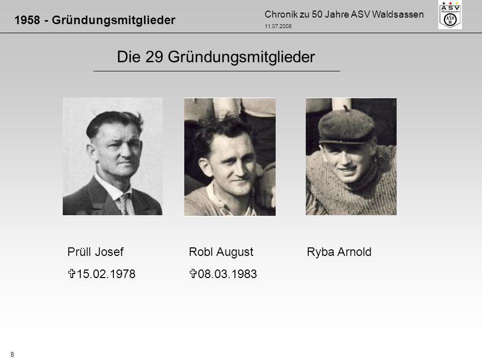 Chronik zu 50 Jahre ASV Waldsassen 11.07.2008 9 Die 29 Gründungsmitglieder 1958 - Gründungsmitglieder Sommer Otto 29.01.1970 Stark HildeSüß Wenzl