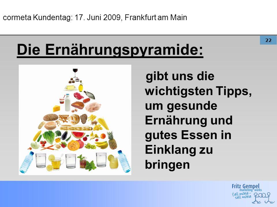 22 cormeta Kundentag: 17. Juni 2009, Frankfurt am Main gibt uns die wichtigsten Tipps, um gesunde Ernährung und gutes Essen in Einklang zu bringen Die