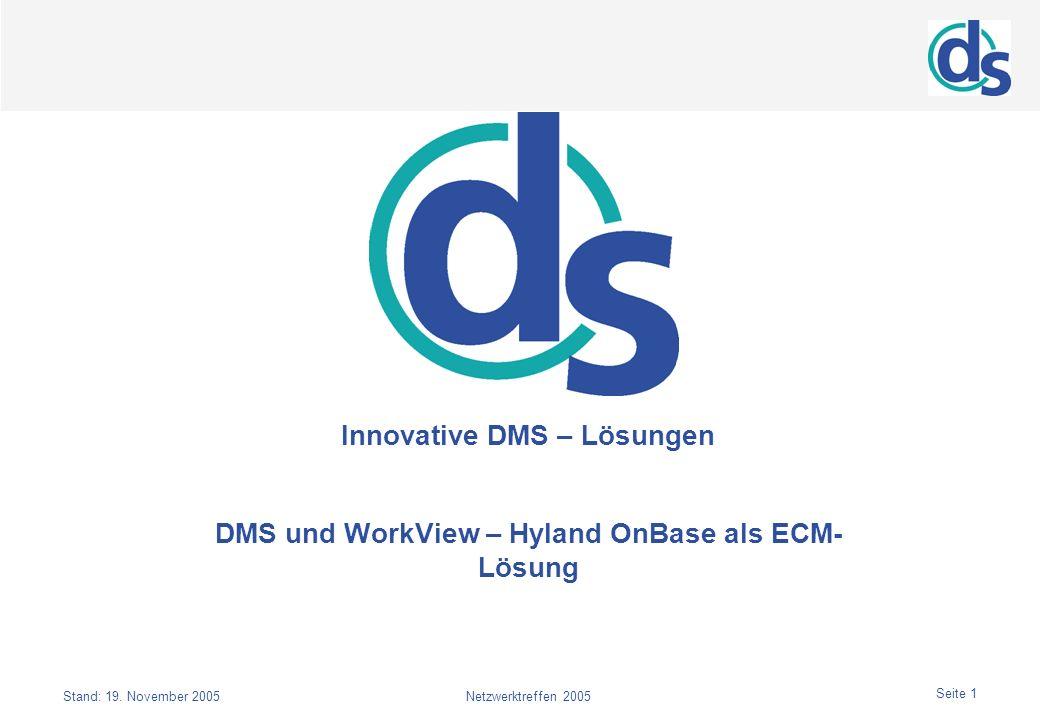 Seite 1 Stand: 19. November 2005Netzwerktreffen 2005 Innovative DMS – Lösungen DMS und WorkView – Hyland OnBase als ECM- Lösung