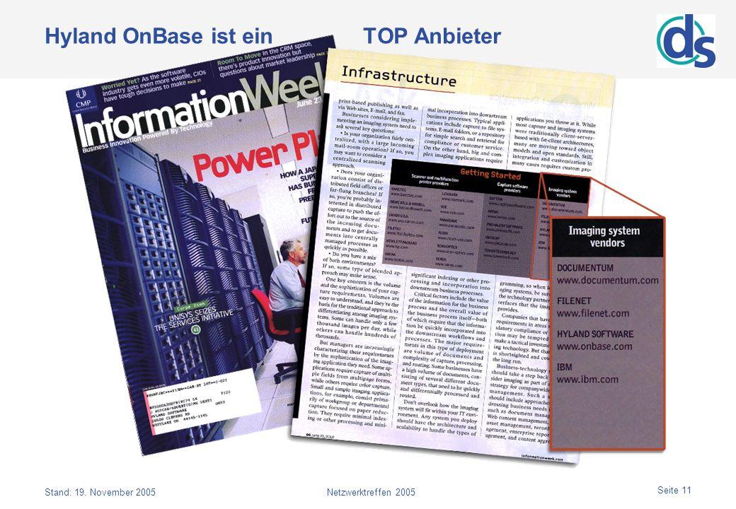 Stand: 19. November 2005Netzwerktreffen 2005 Seite 11 Hyland OnBase ist ein TOP Anbieter