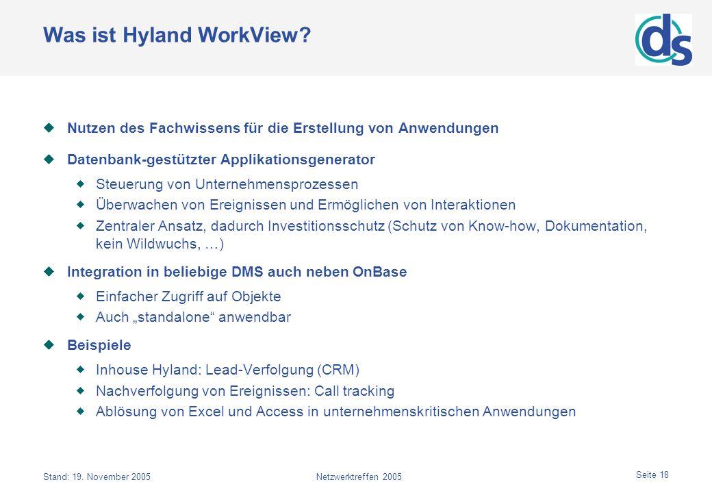 Stand: 19. November 2005Netzwerktreffen 2005 Seite 18 Was ist Hyland WorkView? Nutzen des Fachwissens für die Erstellung von Anwendungen Datenbank-ges