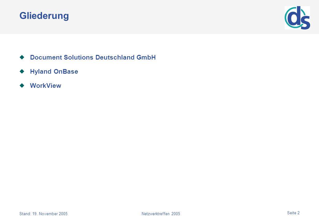 Stand: 19. November 2005Netzwerktreffen 2005 Seite 2 Gliederung Document Solutions Deutschland GmbH Hyland OnBase WorkView