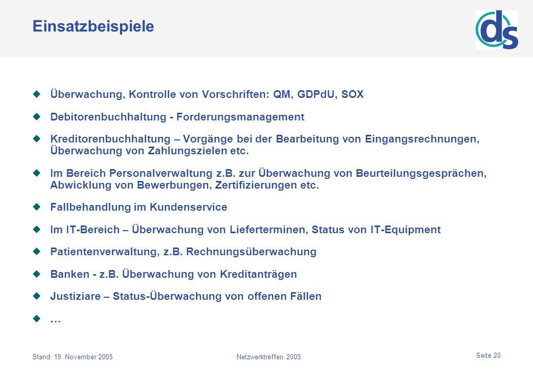 Stand: 19. November 2005Netzwerktreffen 2005 Seite 20 Einsatzbeispiele Überwachung, Kontrolle von Vorschriften: QM, GDPdU, SOX Debitorenbuchhaltung -