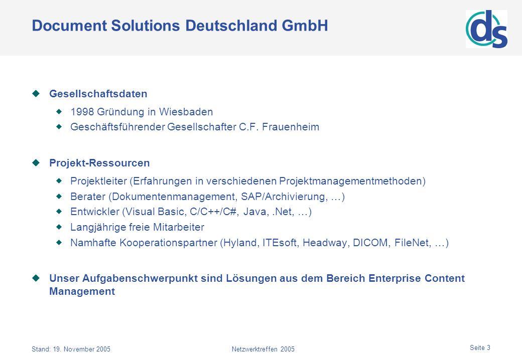 Stand: 19. November 2005Netzwerktreffen 2005 Seite 3 Document Solutions Deutschland GmbH Gesellschaftsdaten 1998 Gründung in Wiesbaden Geschäftsführen