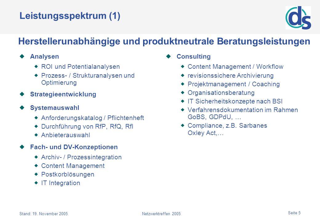 Stand: 19. November 2005Netzwerktreffen 2005 Seite 5 Leistungsspektrum (1) Analysen ROI und Potentialanalysen Prozess- / Strukturanalysen und Optimier