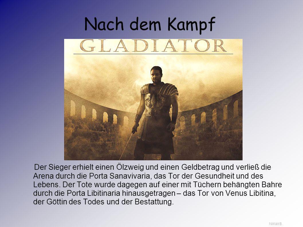 Der Ausgang des Kampfes Vom unterlegenen Gladiator wurde erwartet, dass er auf dem Boden kniend gefasst den Todesstoß in den Hals oder zwischen die Sc