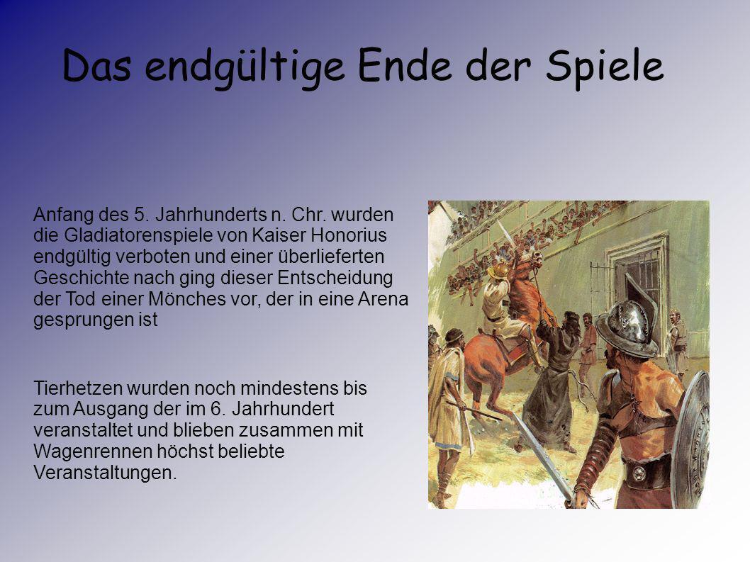 Seitdem 365 n.Chr. der Einsatz von Christen verboten worden war, wurde es immer schwieriger, Gladiatoren zu finden. Auch der Einsatz von Soldaten und