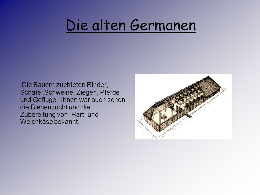 Die alten Germanen Die Germanen ernährten sich von Gerste, Getreide das sie zu Brei verarbeitet Den. Allerdings sie nur selten zur Jagd. Die Männer tr