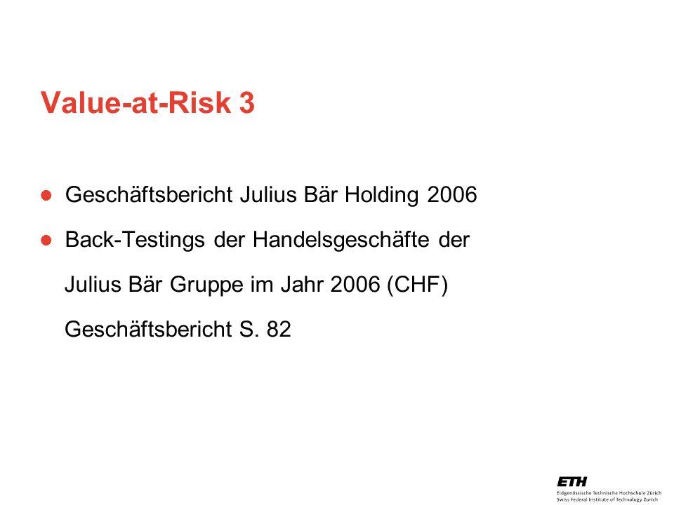 26. April 2005 Prof. Paul Embrechts / D-MATH / embrechts@math.ethz.ch 14 Value-at-Risk 3 Geschäftsbericht Julius Bär Holding 2006 Back-Testings der Ha