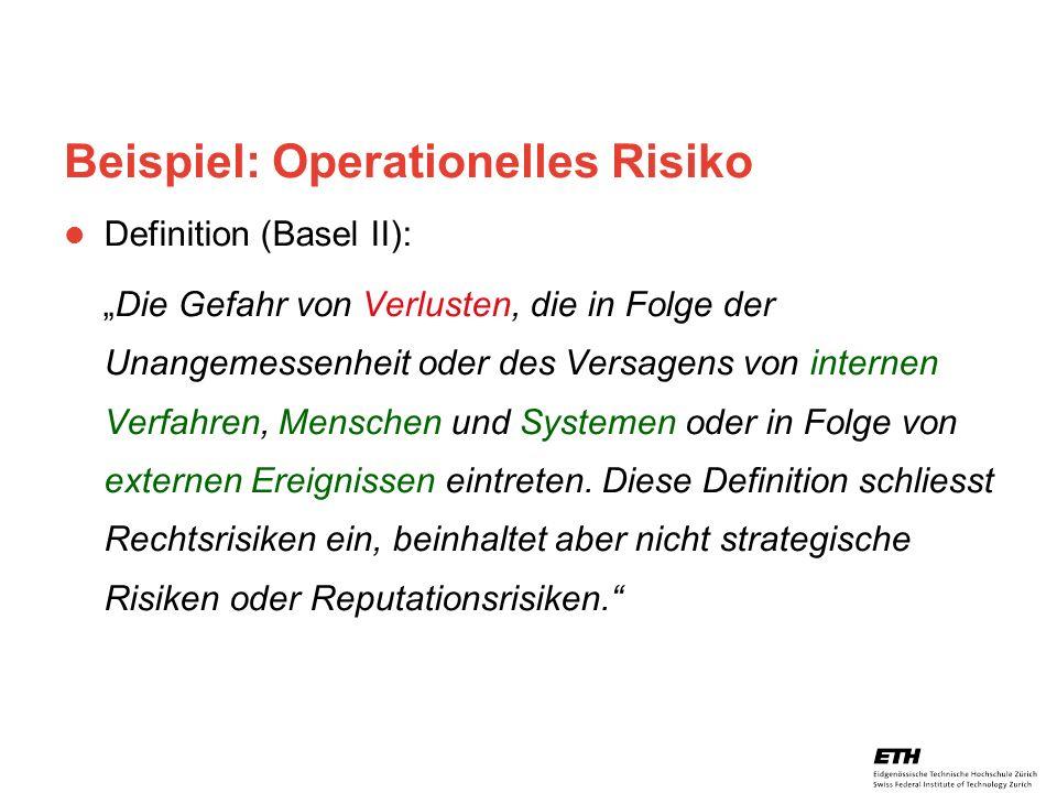 26. April 2005 Prof. Paul Embrechts / D-MATH / embrechts@math.ethz.ch 19 Beispiel: Operationelles Risiko Definition (Basel II): Die Gefahr von Verlust