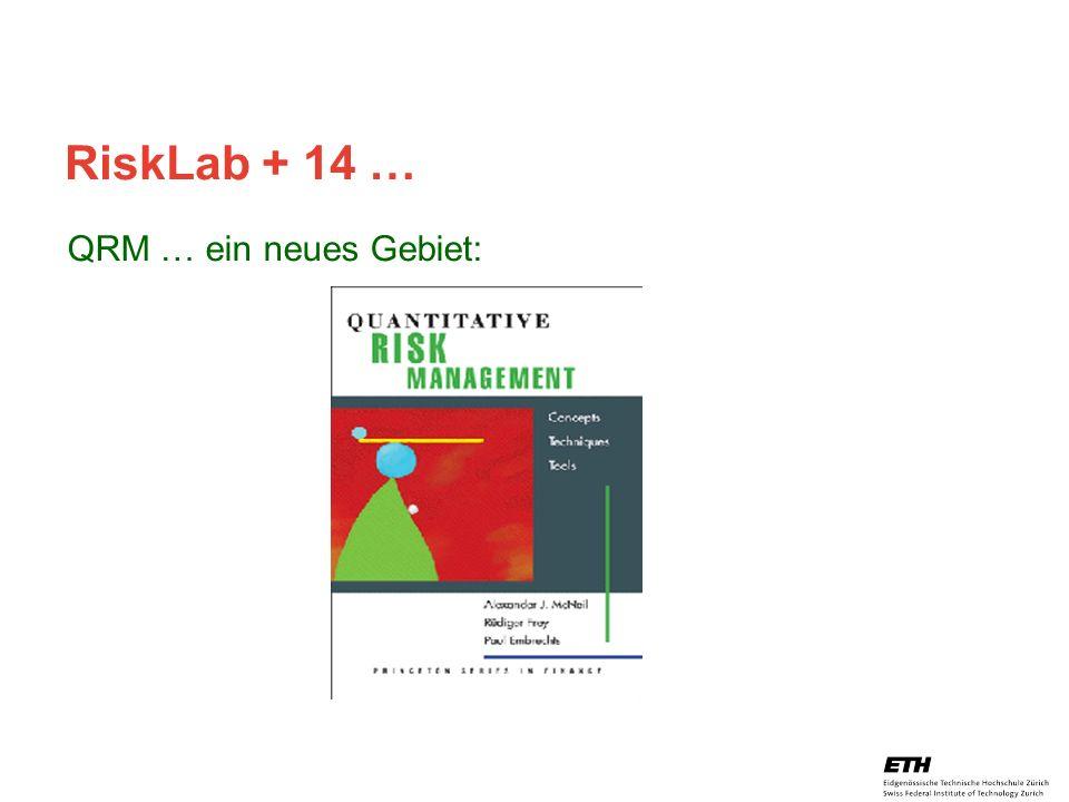 26. April 2005 Prof. Paul Embrechts / D-MATH / embrechts@math.ethz.ch 32 RiskLab + 14 … QRM … ein neues Gebiet: